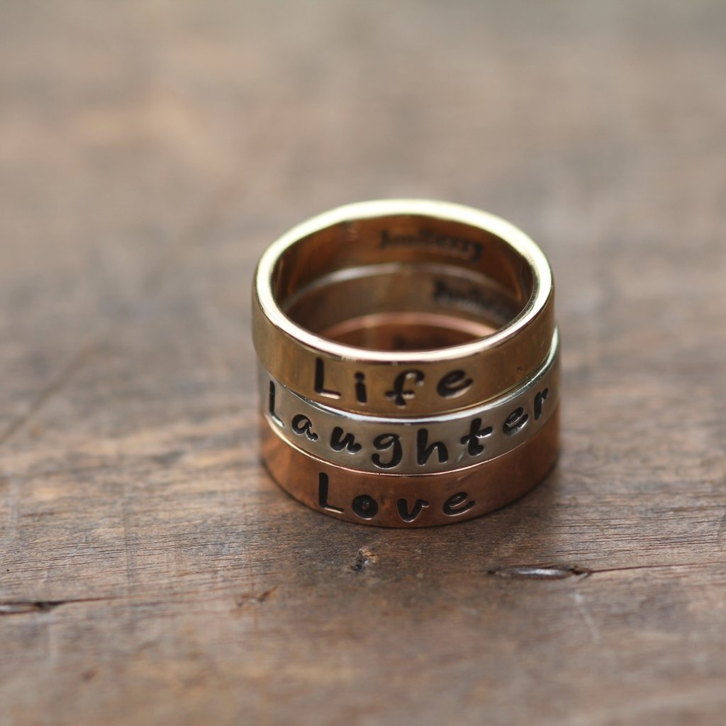 Joulberry Personalised Tri Gold Semplice Rings