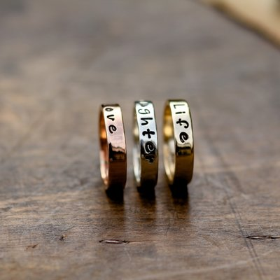 PERSONALISED Tri Gold Semplice Rings