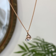 Rose Gold and Silver Butterfly Heart Necklace