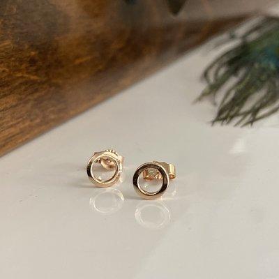 Rose Silhouette Circle Earrings