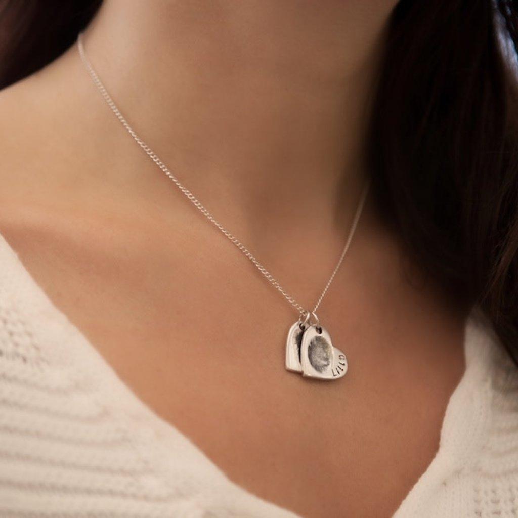 Joulberry Fingerprint Petite Double Heart Necklace