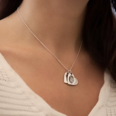 Joulberry Fingerprint Petite Double Heart Necklace