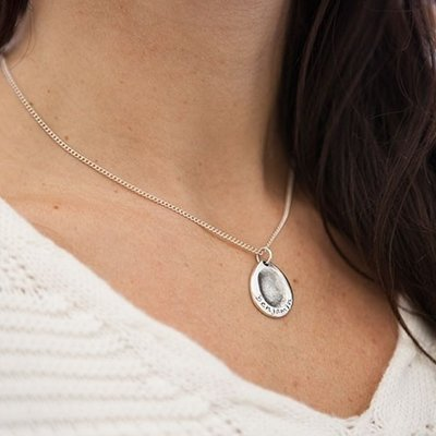 Joulberry Fingerprint Oval Necklace