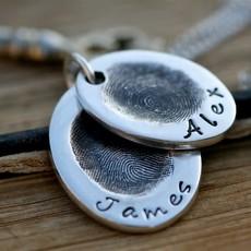 Fingerprint Oval Duo Necklace