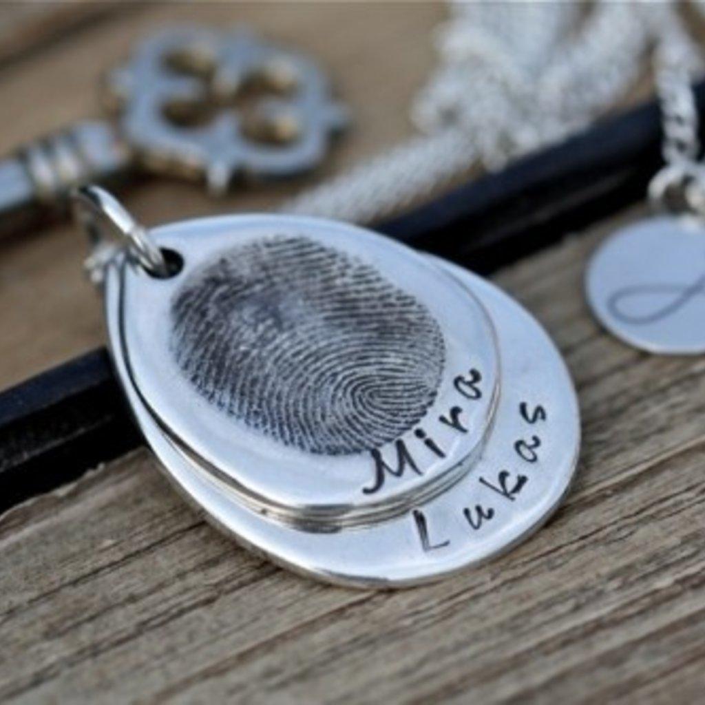 Fingerprint Teardrop Duo Necklace