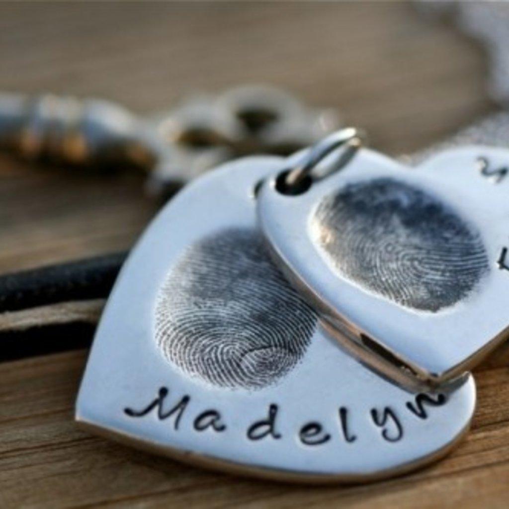 Fingerprint Heart Duo Necklace