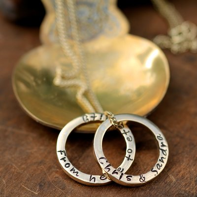 Joulberry Personalised Gold Duo Ring Necklace