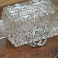 """PERSONALISED Silver Duo Ring Necklace 16/18"""" extender chain"""