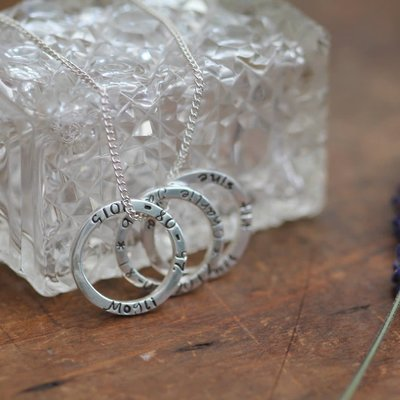 PERSONALISED Silver Trinity Ring Necklace