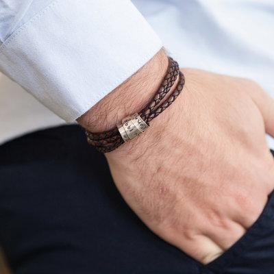 Personalised Brown Soho Scroll Bracelet
