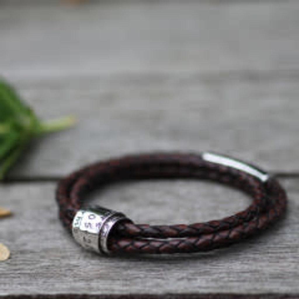 Joulberry Personalised Brown Soho Scroll Bracelet