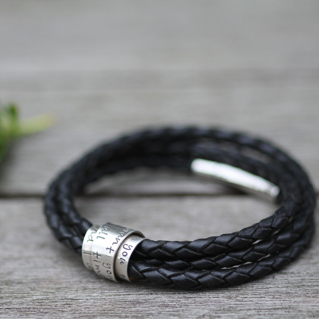 Joulberry Personalised Black Soho Scroll Bracelet