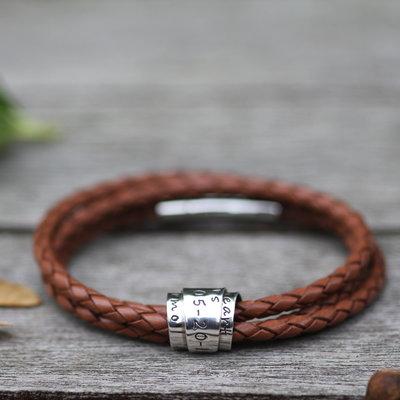 Personalised Tan Soho Scroll Bracelet