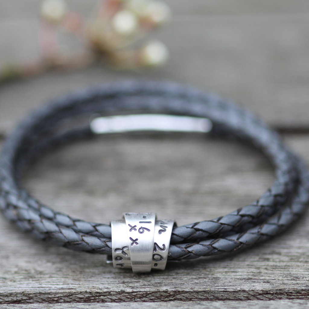 PERSONALISED Grey Soho Scroll Bracelet