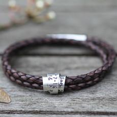 Joulberry Personalised Brown Islington Scroll Bracelet