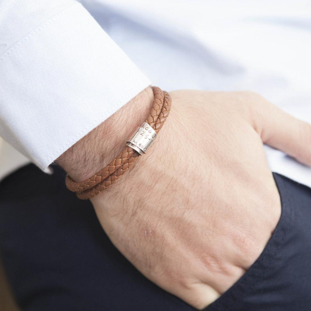 Joulberry Personalised Tan Islington Scroll Bracelet