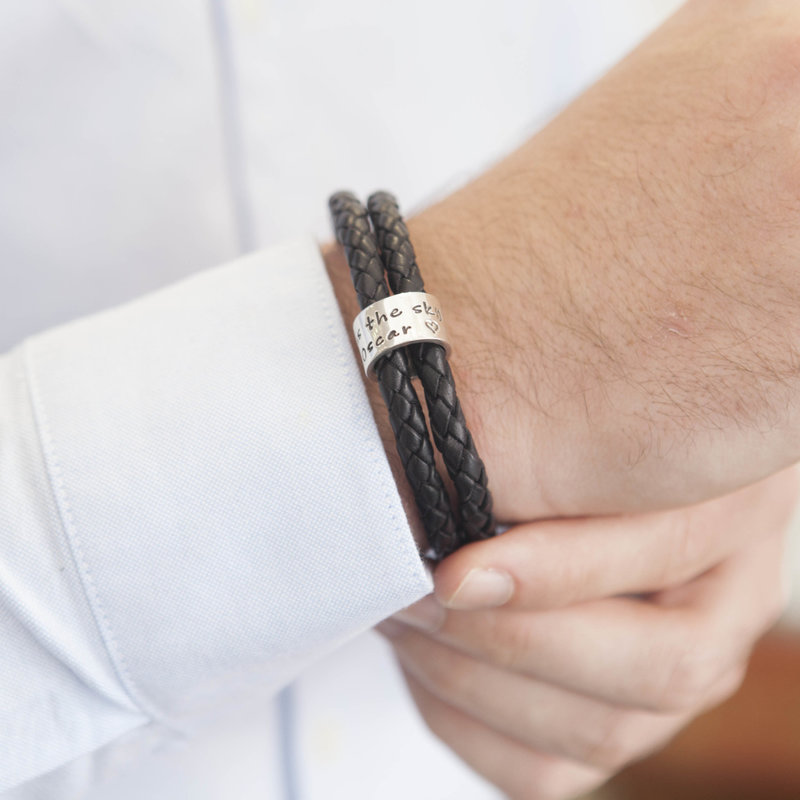 PERSONALISED Black Islington Ring Bracelet