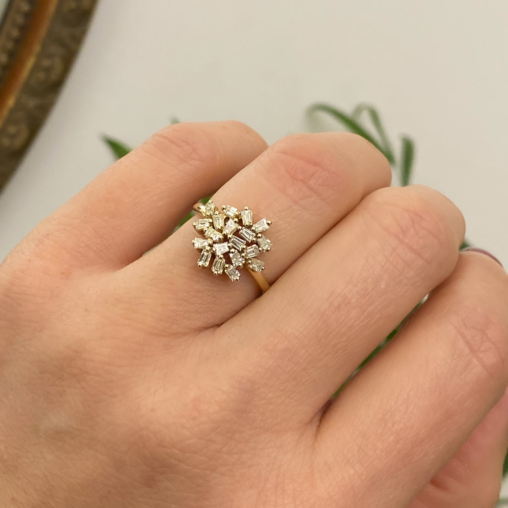 Gold Moon Cluster Diamond Ring