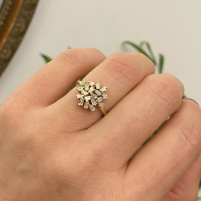LUNAR Gold Moon Cluster Diamond Ring