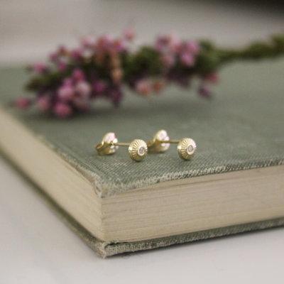 Joulberry Gold Art Deco Button Earrings