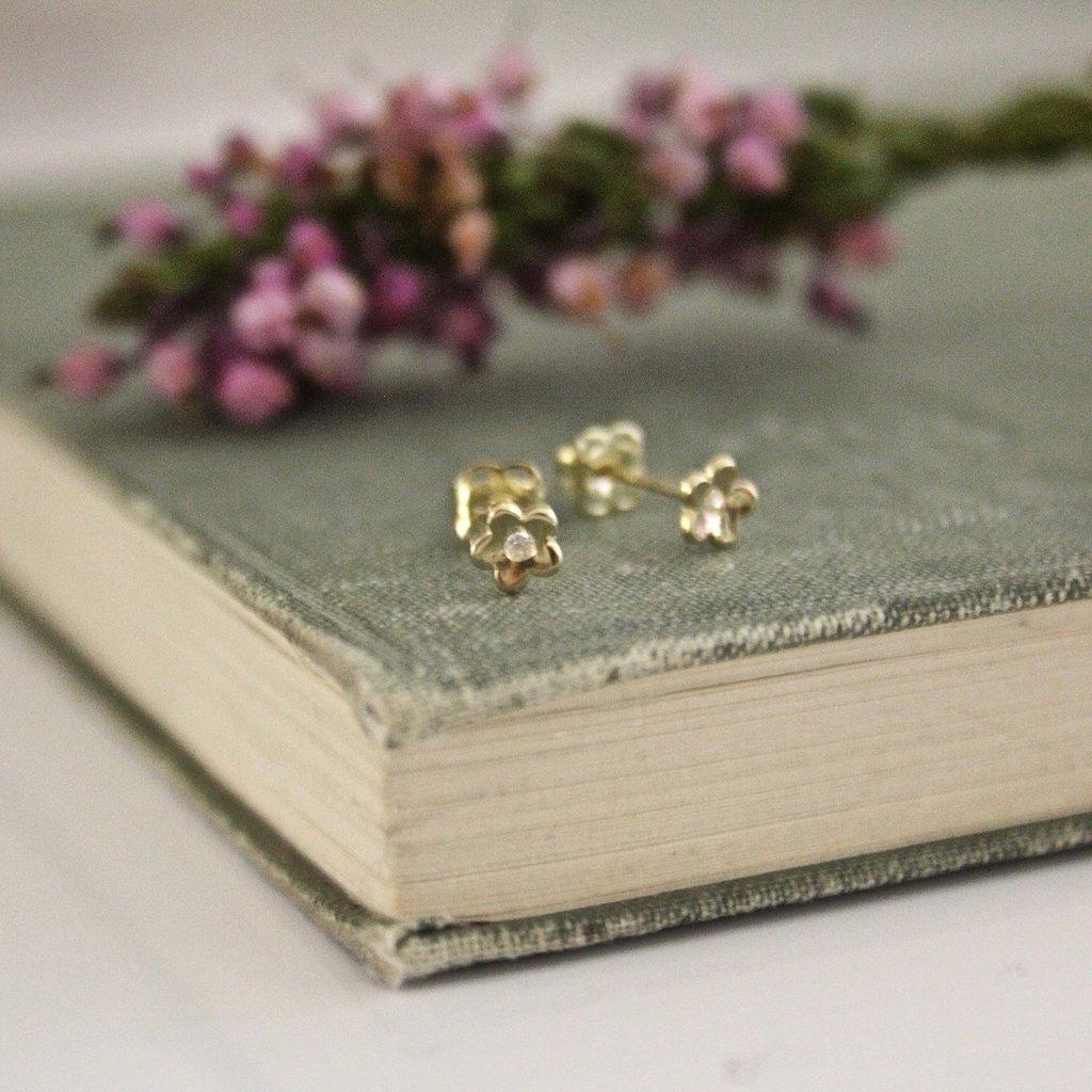 Joulberry Gold Art Deco Flower Earrings