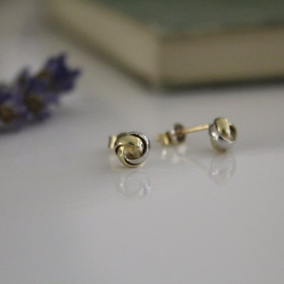 MADISON Gold and White Knot Earrings