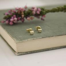 Gold Art Deco Cube Earrings