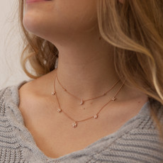 Rose Gold Moon and Stars Diamond Necklace