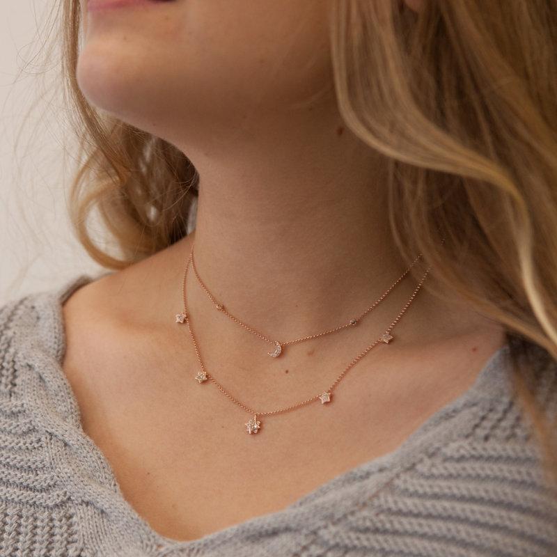 LUNA Rose Moon and Stars Diamond Necklace