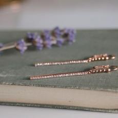 BARDOT Rose Gold Diamond Loop Bolt Earrings