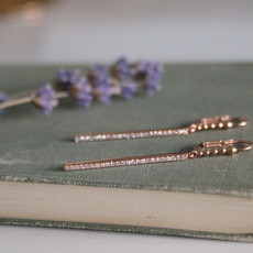 Rose Gold Diamond Loop Bolt Earrings