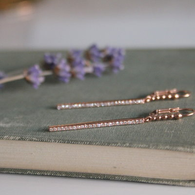 Joulberry Rose Gold Diamond Bolt Earrings