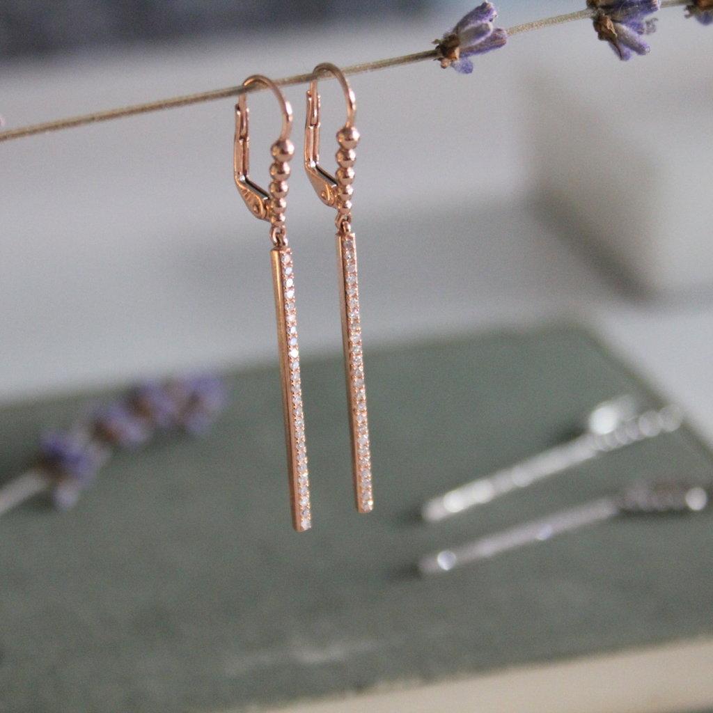 Joulberry Rose Gold Diamond Bolt Earrings