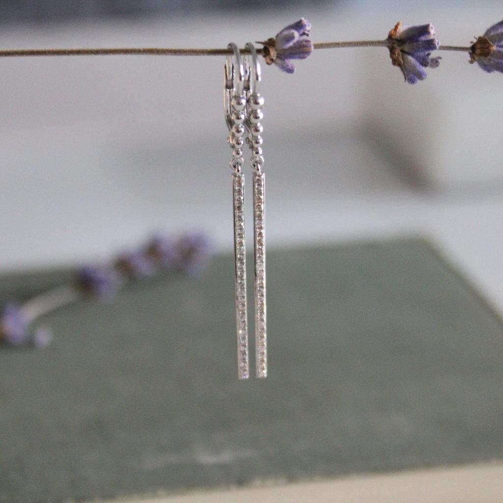 Joulberry White Gold Diamond Bolt Earrings