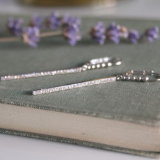 White Gold Diamond Bolt Earrings