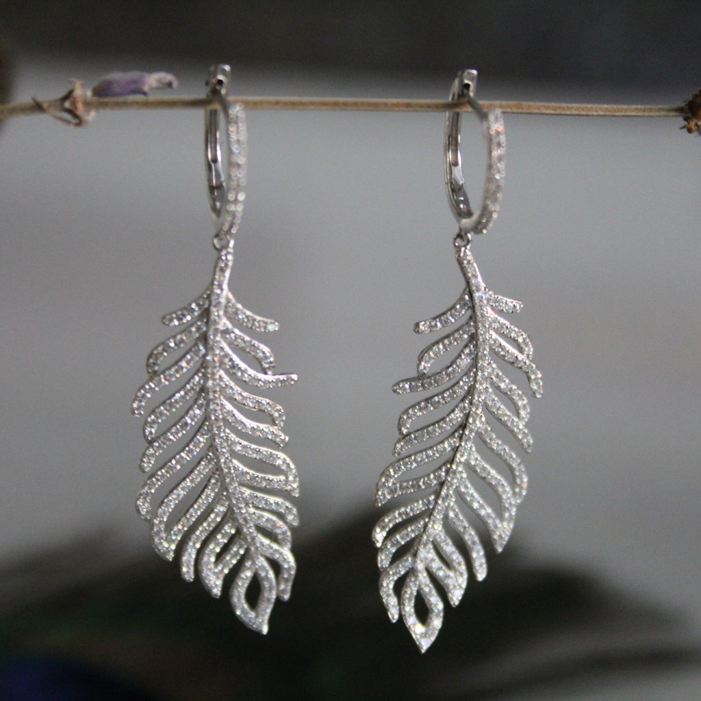 Joulberry White Gold Diamond Feather Earrings