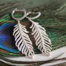White Gold Diamond Feather Earrings