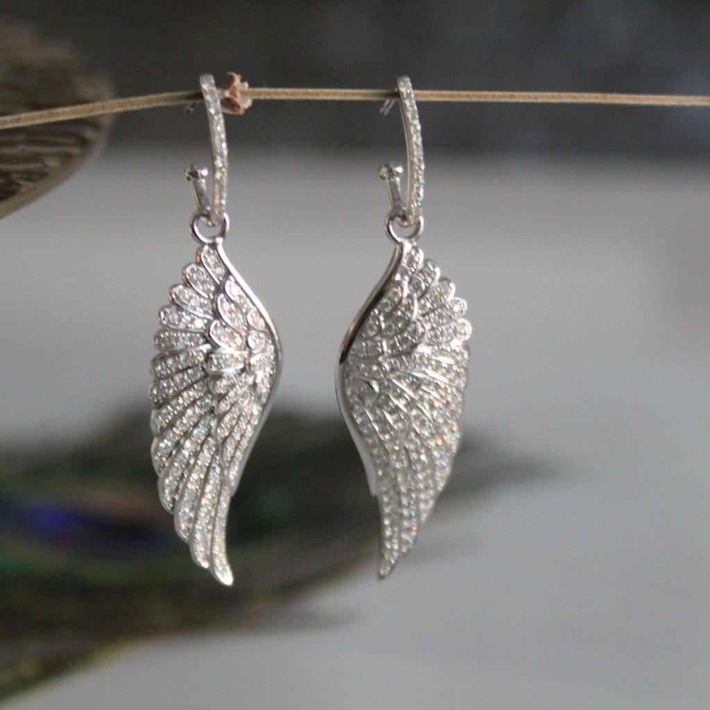 Joulberry White Gold Diamond Angel Wing Earrings