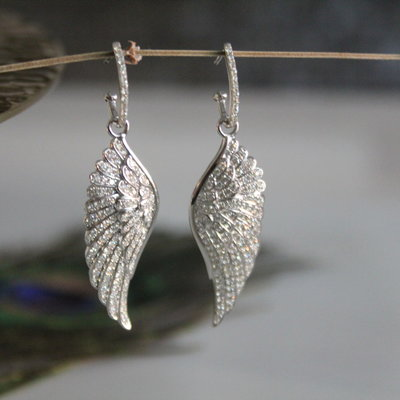 Joulberry White Gold Diamond Angel Wing Earrings