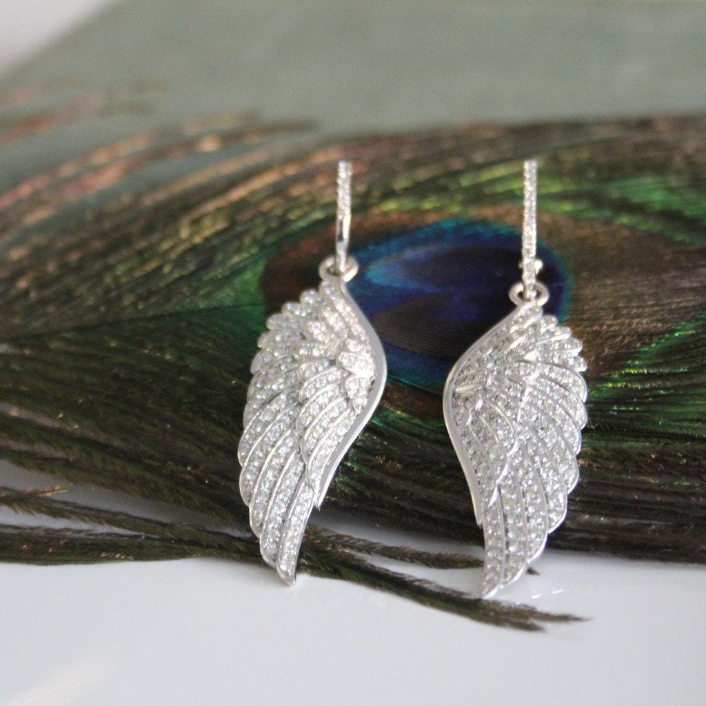 GATSBY White Gold Diamond Angel Wing Earrings