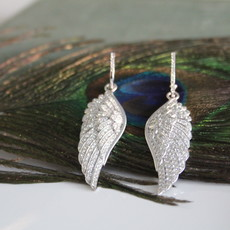 White Gold Diamond Angel Wing Earrings