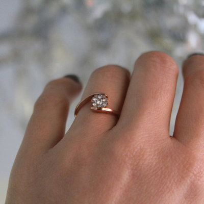 Joulberry Rose Gold Starburst Diamond Ring