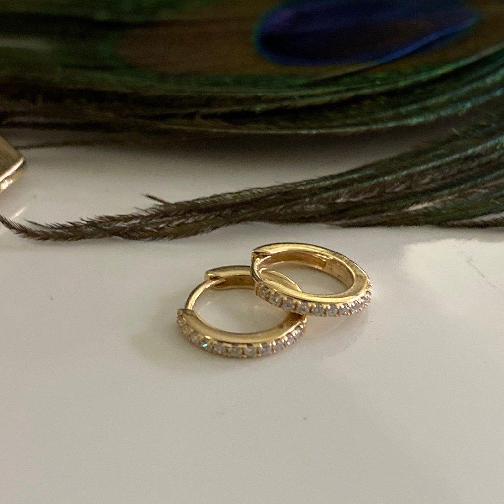 Gold Diamond Round Huggies Earrings