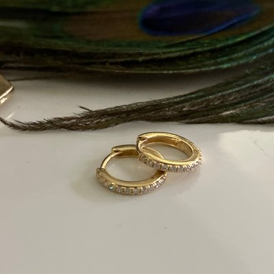 Gold Diamond Round Huggies Earrings
