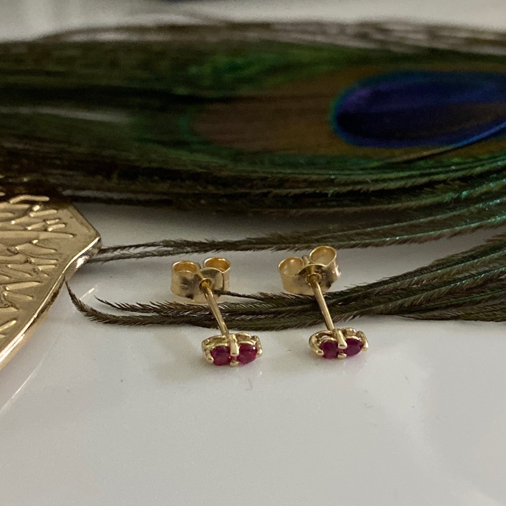 Joulberry Gold Ruby Duo Earrings