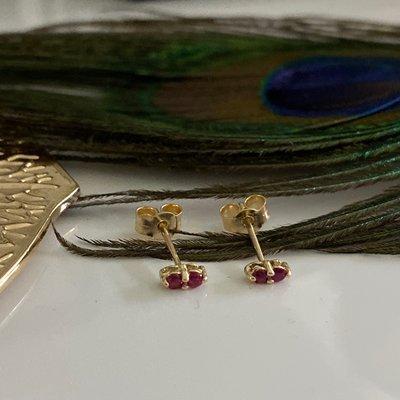 Gold Ruby Duo Earrings