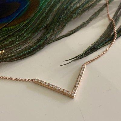 Rose Diamond Wishbone Necklace