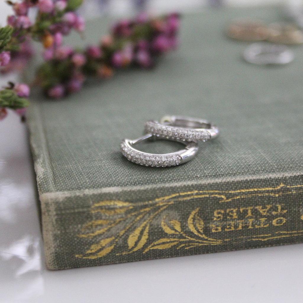 BARDOT White Gold Pave Diamond Hoop Earrings
