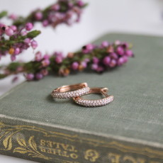Joulberry Rose Gold Pave Diamond Hoop Earrings