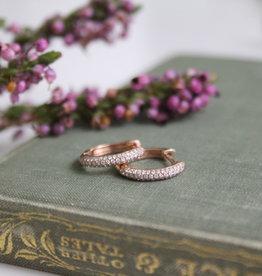 Joulberry Rose Gold Pave Diamond Hoop Earrings